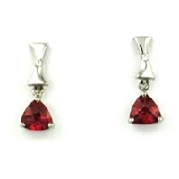 Sterling Silver Post Dangle Earrings- Lab-Created Ruby & CZs
