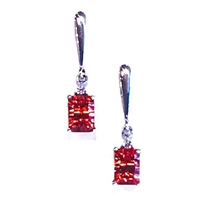 Sterling Silver Post Dangle Earrings- Lab Created Orange Sapphire & CZs