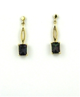 14k Gold  Post Dangle Earrings- Mystic Rainbow Topaz