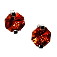 14k White Gold Post Earrings- Lab-Created Orange Sapphire