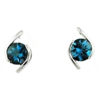 Sterling Silver Post Earrings-London Blue Topaz