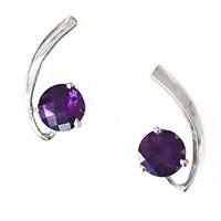Sterling Silver Post Earrings- Amethyst