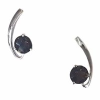 Sterling Silver Post Earrings- Smoky Quartz