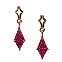 14k Gold Post Dangle Earrings-  Lab-Created Pink Sapphire