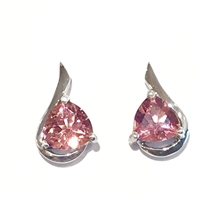 Sterling Silver Post Earrings- Pink Tourmaline
