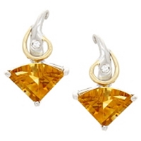Sterling Silver & 14k Post Earrings- Citrine & Diamond