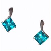 Sterling Silver Post Earrings- Pariaba Topaz