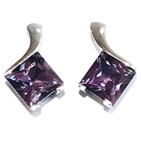 Sterling Silver Post Earrings- Lab Created Alexandrite