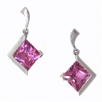 Sterling Silver Post Earrings- Lab Created Pink Sapphire