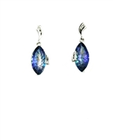 14k White Gold Post Dangle Earrings- Peacock Topaz & Diamonds