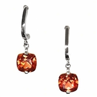 Sterling Silver Post Earrings- Lab Created Orange Sapphire CZs