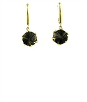 14k Gold Leverback Earrings-Smoky Quartz