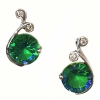 Sterling Silver Post Earrings- Sea Spray Topaz & CZ