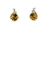 Sterling Silver Post  Earrings-  Citrine & CZs