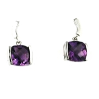 Sterling Silver Post Dangle Earrings- Amethyst
