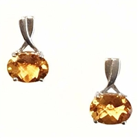 Sterling Silver Post Earrings- Citrine
