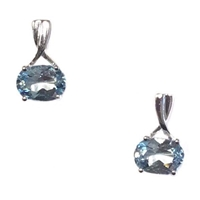 Sterling Silver Post Earrings- Aquamarine- March Birthstone