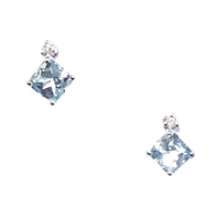 Sterling Silver Post Earrings- Aquamarine & Diamond- March Birthstone