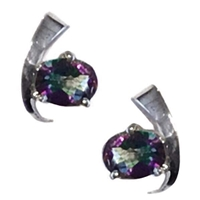 Sterling Silver Post Earrings- Mystic (Rainbow) Topaz