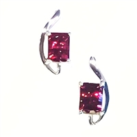 Sterling Silver Post Earrings- Garnet