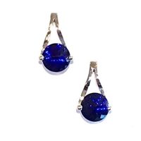 Sterling Silver Post Earrings- Lab Created Sapphire