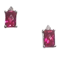 Sterling Silver Lab Created Ruby & Cubic Zirconia Post Earrings- July Birthstone