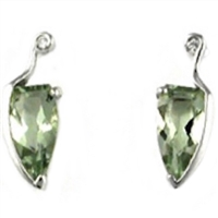 Sterling Silver Post Earrings- Green Amethyst