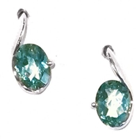 Sterling Silver Post Earrings- Lab-Created Green Spinel