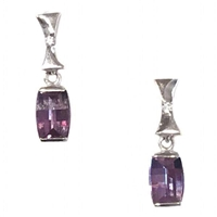 Sterling Silver Post Dangle Earrings- Lab Created Alexandrite