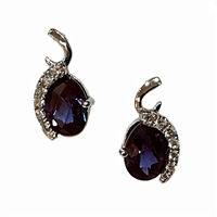 14k White Gold Post Earrings- Lab Created Alexandrite & Diamonds