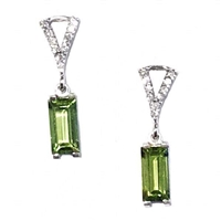 Sterling Silver Post Earrings- Peridot & Diamonds