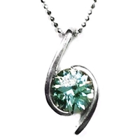 Sterling Silver Pendant/Slide- Lab Created Green Spinel
