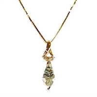 14k Gold Pendant- Green Amethyst & Diamonds