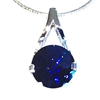 Sterling Silver Pendant/Slide-  Lab Created Blue Sapphire