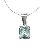 Sterling Silver Pendant- Aquamarine- March Birthstone