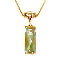 14k Gold Pendant/Slide- Green Amethyst