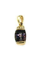 14k  Gold Pendant/Slide- Mystic Rainbow Topaz & Diamonds