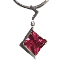Sterling Silver Pendant/Slide- Lab Created Pink Sapphire