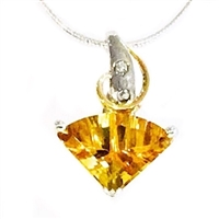 Sterling Silver & 14k Pendant- Citrine & Diamond