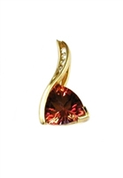 14k Gold Pendant/Slide- Orange Topaz & Diamonds