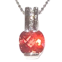 Sterling Silver Pendant- Lab Created Orange Sapphire & CZs