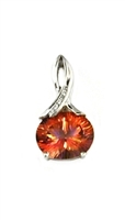 14k White Gold Pendant/Slide- Orange Topaz & Diamonds