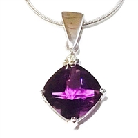 14k White Gold Pendant- Amethyst & Diamond
