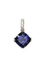 Sterling Silver Pendant/Slide-  Lab Created Blue Sapphire & CZs