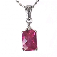Sterling Silver Lab Created Ruby & Cubic Zirconia Pendant- July Birthstone