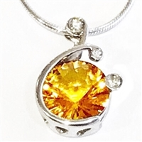 Sterling Silver Pendant/Slide-  Citrine & Cubic Zirconia