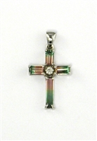 14k White Gold Cross Pendant- Watermelon Tourmaline & Diamond