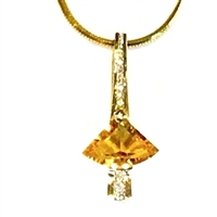 14k Gold Pendant- Citrine & Diamond