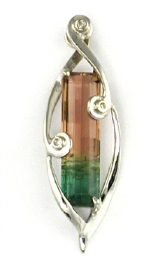 14k White Gold Slide/Pendant- Watermelon Tourmaline & Diamond