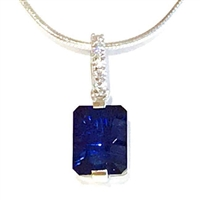 Sterling Silver Sapphire & CZ Pendant- September Birthstone